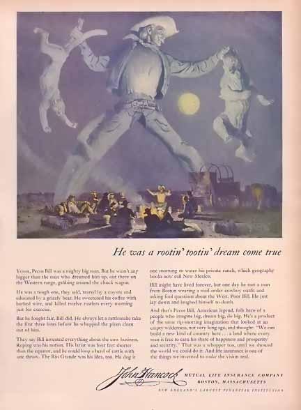 John Hancock Mutual Life Insurance 1948 Ad Pecos Bill ...